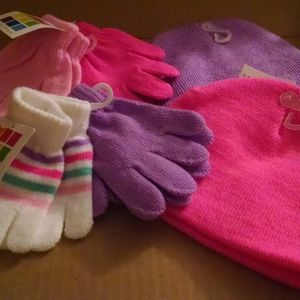 New Baby Girl Knit Hat & Gloves Sets